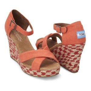 NEW -- TOMS Coral Mixed Rope Platform Wedge